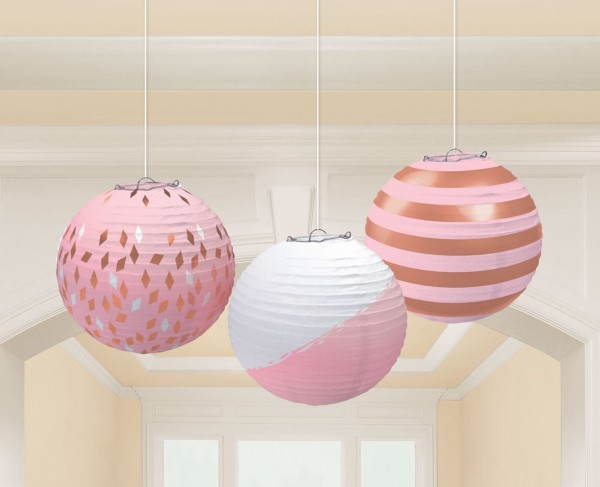 3 Rosy Dreams Chinese lanterns 24cm