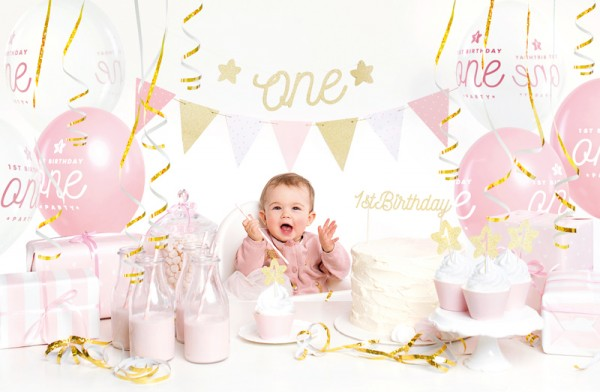 One Star Partykoffer rosa-gold 33-teilig