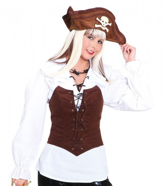 Pirate corset brown for women
