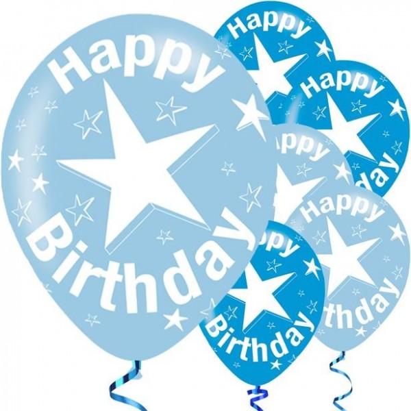 6 Birthday Star Latexballons 28cm