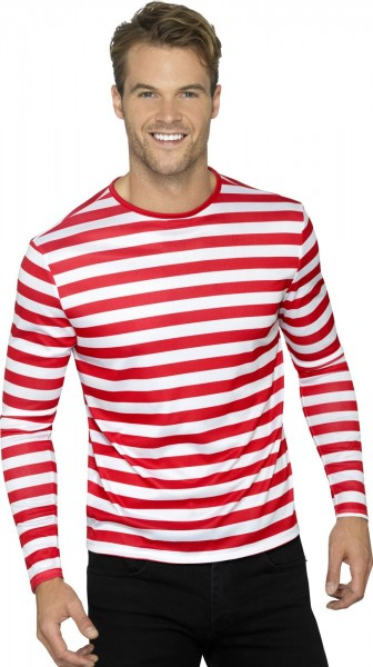 Striped shirt long sleeve unisex red white