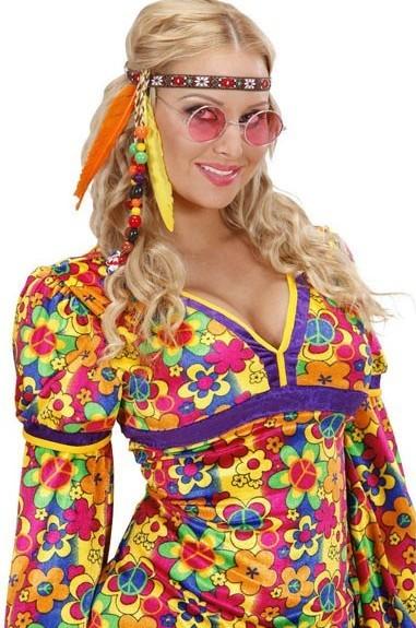 Buntes Hippie Stirnband mit Federn und Perlen