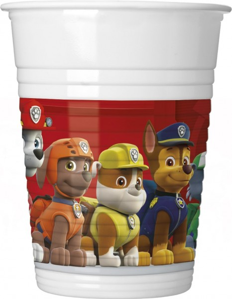 8 gobelets en plastique Paw Patrol Team 200 ml