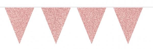Catena di gagliardetti glitter oro rosa 6m