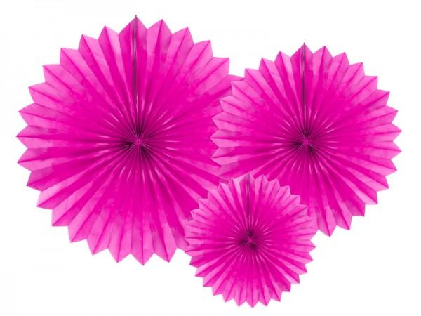 3 rosaces en papier fête étoile rose