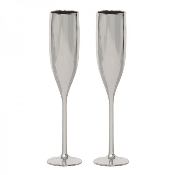 Lot de 2 verres à champagne décoratifs en plastique argenté