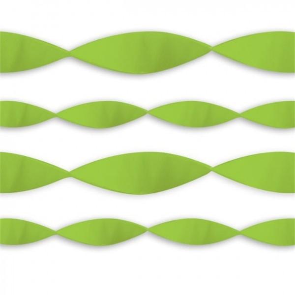 Serpentinas de papel crepé verde lima 24m