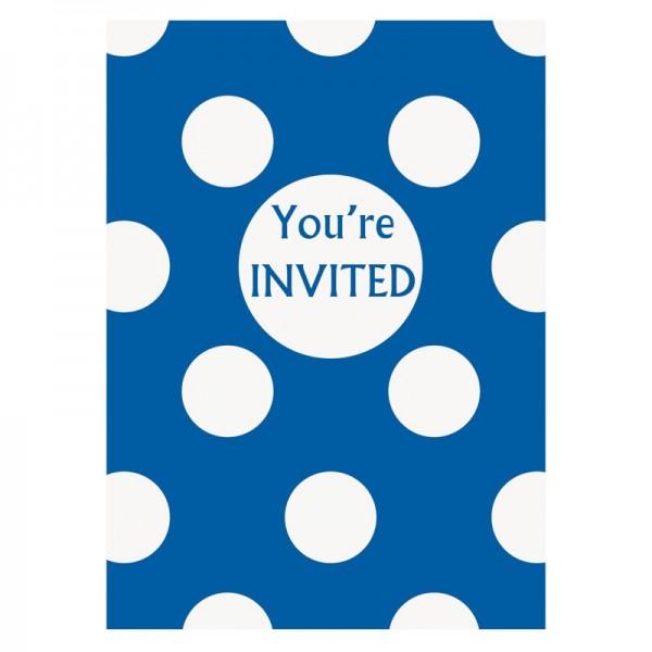8 Einladungskarten Tiana Royalblau Gepunktet