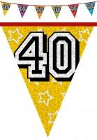 Holografische 40. Geburtstag Wimpelkette 800cm
