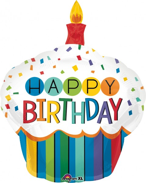 Cupcake d'anniversaire arc-en-ciel ballon en aluminium