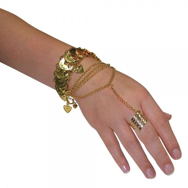 Orientalischer Handschmuck mit Ring Gold