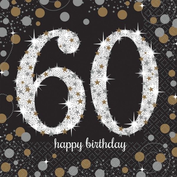 16 golden 60th birthday napkins 33cm