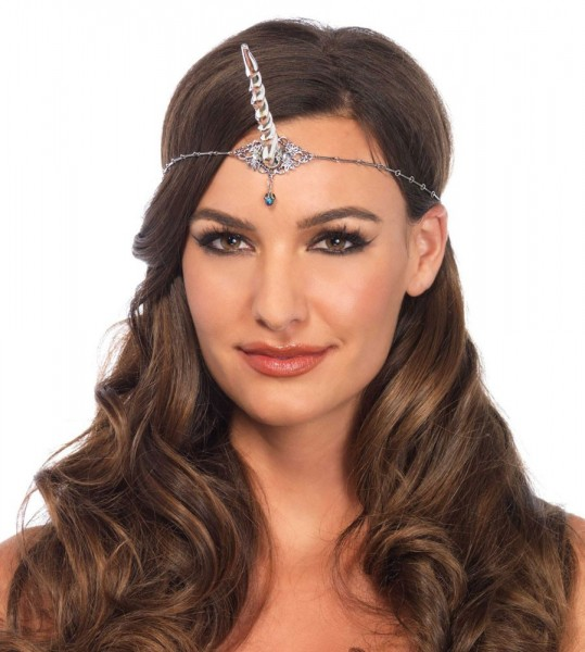 Silberne Stirnband Kette Mit Horn