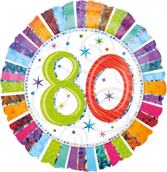 Colorful 80th Birthday balloon 45cm