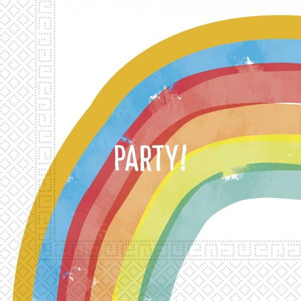 20 rainbow party napkins 33cm