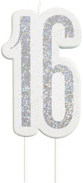 Glittering sweet 16 birthday candle