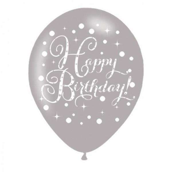 6 Happy Birthday latex balloons