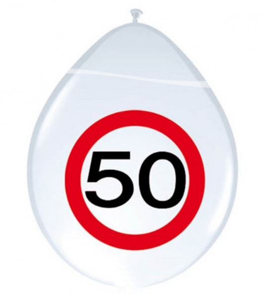 8 traffic sign 50 balloons 30cm