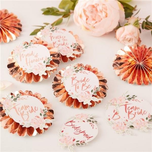 6 Rosy Bride Anstecknadeln 9cm
