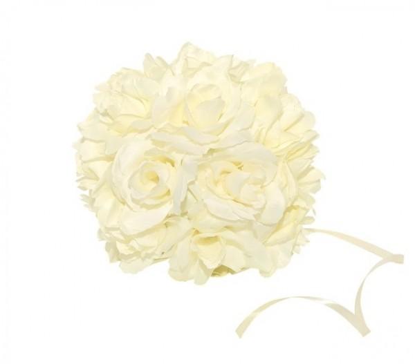 3 Rosen-Kugeln Hochzeitsdekoration Creme 17 cm 1