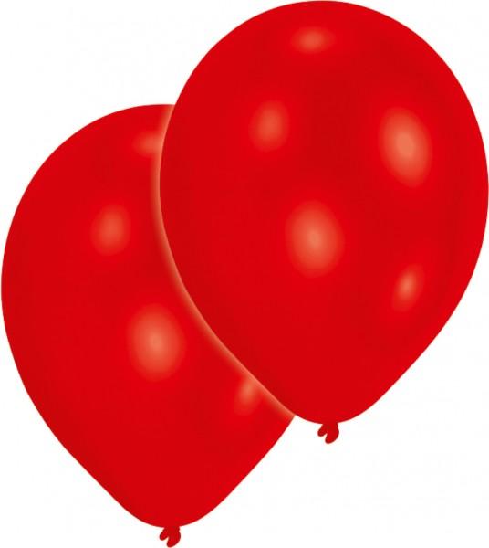 Set de 10 globos metalizados rojos 27,5cm