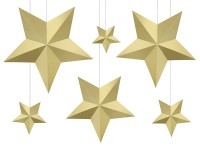 6 golden DIY hanging decoration stars