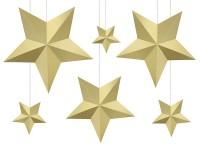 6 goldene DIY Hängedeko Sterne
