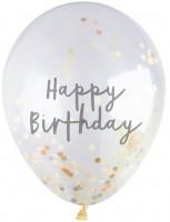 5 Happy Birthday Konfetti Ballons Gold