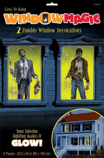 2 Zombie Town Fensterbilder 85cm x 1,65m