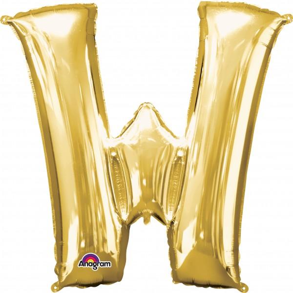 Letter foil balloon W gold 83cm