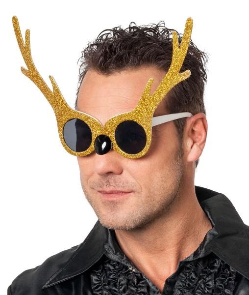 Gafas Rudolfus Gold Glitter Antler