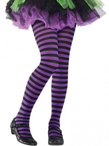 Collant rayé enfant violet noir