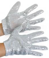 Pailletten Handschuhe Silber