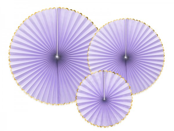 3 candy party paper rosettes lavender