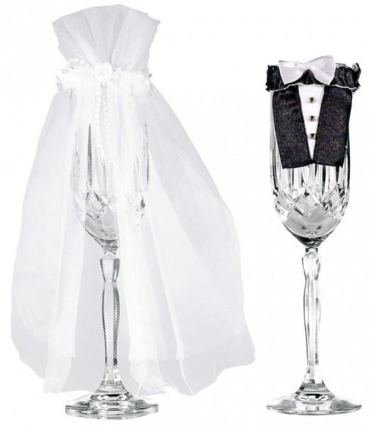 Glas Dekoration Hochzeitspaar 2-teilig