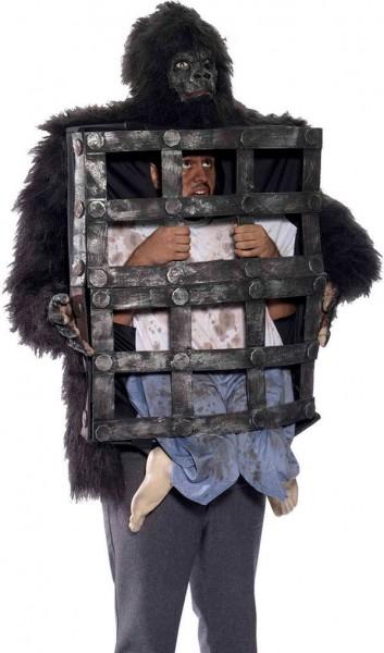 Gorilla met kooi horror kostuum