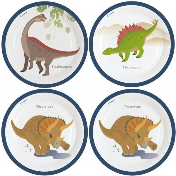 8 Assiettes Happy Dinosaures 23cm