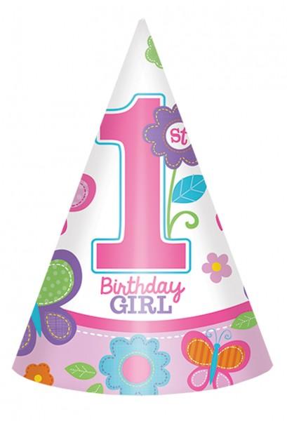 First Birthday Girl Partyhut Mit Schmetterlingen 8 Stuck 1