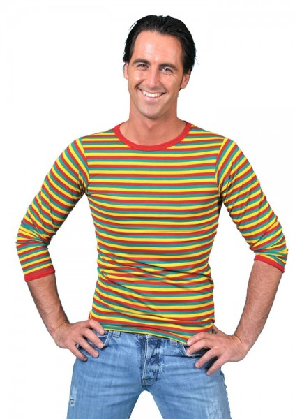 Camisa a rayas de manga larga para hombre de colores