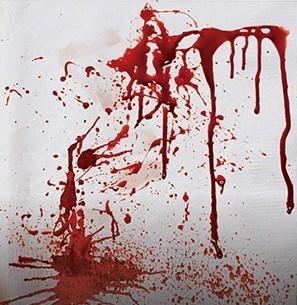 16 serviettes de table massacre tachées de sang 33 x 33 cm