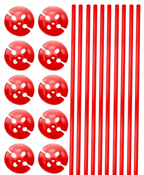 10 balloon sticks with holder red