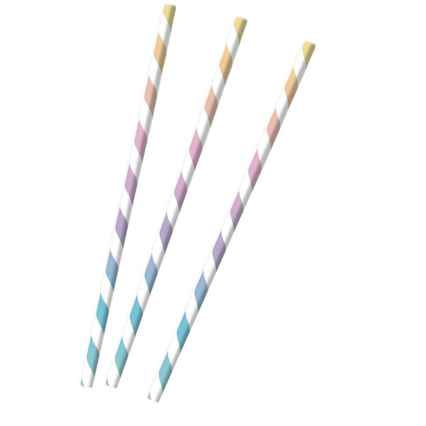 12 striped paper straws pastel
