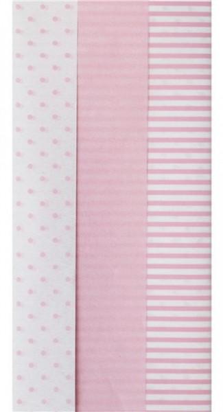 6 Bögen Muster Mix Seidenpapier rosa