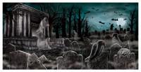 Halloween Banner Unheimlicher Geisterfriedhof
