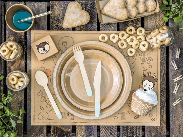 Cubiertos de madera Woody azul claro 18 piezas
