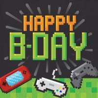 16 Level Up Happy Birthday Servietten 33cm