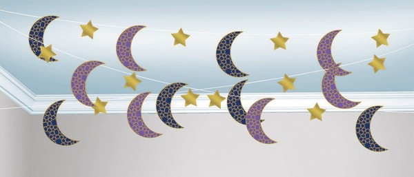 6 decoration hanger Eid half moon & stars