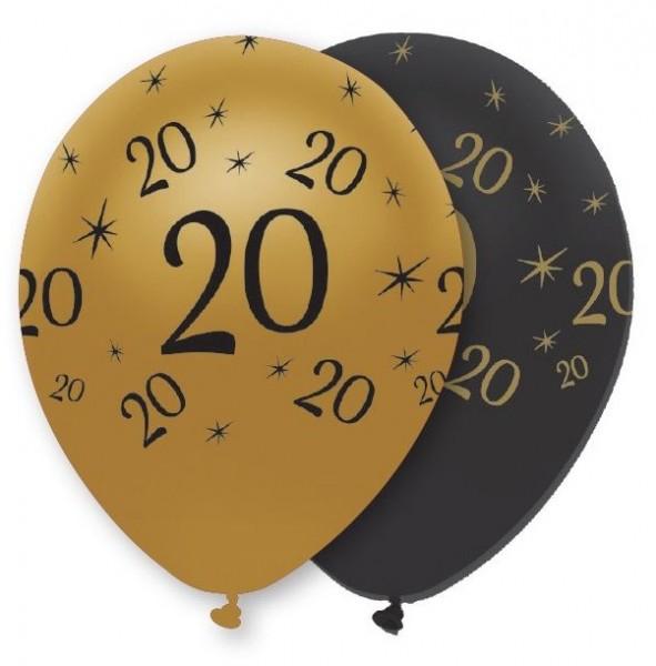 6 ballons magiques 20ème anniversaire 30cm