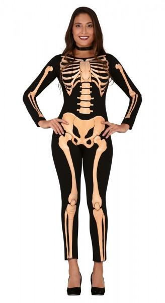 Schauriger Skelett Catsuit für Damen