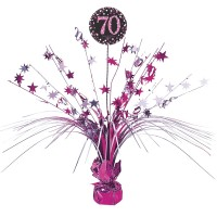 Pink 70th Birthday Tischfontäne 46cm